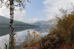 Autumn bank of the Yenisei River. Warm September on the banks of the Yenisei River in the Sayan Mountains. Khakassia. Siberia Stock Photo