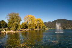 Autumn on the banks of the Tegernsee Stock Image
