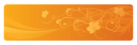 Autumn Banner. Abstract orange autumn banner with swirling leaves Stock Image