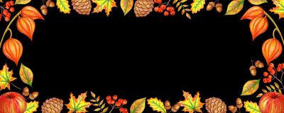 Autumn banner black stock illustration