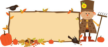 Autumn Banner. Cute scarecrow with a banner. Eps10 Royalty Free Stock Photo