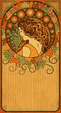 Autumn banner with girl in art nouveau style vector Royalty Free Stock Image