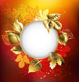 Autumn banner with golden leaves Royalty Free Stock Photography