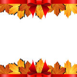 Autumn banner with maple leaf and red bow Royalty Free Stock Image