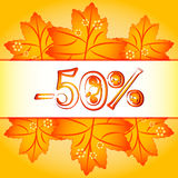 Autumn banner with orange maple leaves Royalty Free Stock Photo