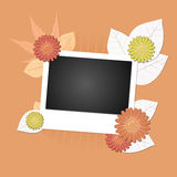 Autumn banner with photograph. An illustration of autumn banner with photograph, leaves and flowers for your decoration Royalty Free Stock Photo