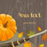 Autumn banner with pumpkin. Postcard ripe pumpkin, autumn leaves, broom and canvas on a wooden surface, for Halloween, harvest festival or party banner vector Stock Photo