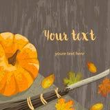Autumn banner with pumpkin Stock Photo