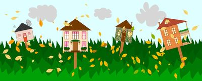 Autumn banner for rent or sale real estate. Banner with four houses as signs on autumn background Royalty Free Stock Photo