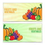 Autumn banner set with fruits and vegetables. Royalty Free Stock Images