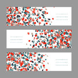Autumn banner set. Red and blue maple leaves. Stock Photos