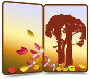 Autumn banner in the shape of door with silhouette of trees and colorful leaves Royalty Free Stock Photography