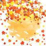Autumn banner template with blank space for your text. Seasonal fall poster with colorful leaves on abstract watercolor Royalty Free Stock Images