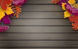 Autumn banner, tree paper leaves, wooden background, design for fall season sale banner, poster or thanksgiving day greeting card royalty free illustration