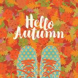 Autumn Banner With The Inscription And Blue Shoes Stock Photography