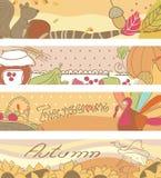 Autumn banners. Four horizontal Banners with Autumn theme Royalty Free Stock Photo