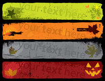 Autumn Banners. Banners With the Colors of Autumn and Grungy Design Elements stock illustration
