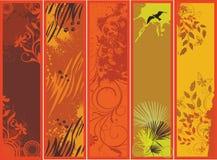 Autumn banners. Five grunge autumn nature banners vector illustration