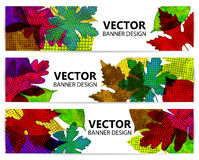 Autumn banners or backgrounds with colorful leaves Royalty Free Stock Photo