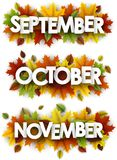 Autumn banners with colorful leaves. September, October, November banners with maple and birch leaves. Vector paper illustration Royalty Free Stock Images