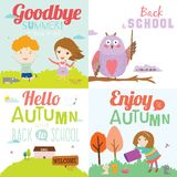 Autumn banners with funny happy smiling kids Royalty Free Stock Images