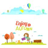 Autumn banners with funny happy smiling kids. Vector illustration banners with funny happy smiling kids. Bright backgrounds in a cute and cartoon style. Goodbye Royalty Free Stock Photo