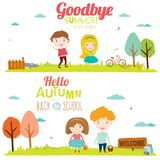 Autumn banners with funny happy smiling kids. Vector illustration banners with funny happy smiling kids. Bright backgrounds in a cute and cartoon style. Goodbye Royalty Free Stock Photos