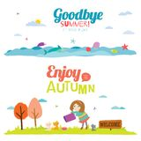 Autumn banners with funny happy smiling kids Stock Photos