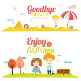 Autumn banners with funny happy smiling kids Royalty Free Stock Photo