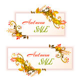 Autumn banners with leafs. Vector illustration Stock Image