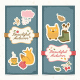 Autumn banners set. Doodle style Royalty Free Stock Photography