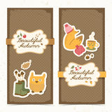 Autumn banners set. Doodle style Royalty Free Stock Image