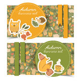 Autumn banners set. Doodle style Stock Photography