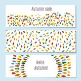 Autumn banners set with forest, park, leaves. Vector illustration. Autumn banners set with forest, park, leaves. Vector graphic illustration royalty free illustration