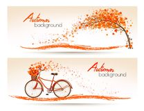 Autumn banners with trees and a bicycle. Royalty Free Stock Image