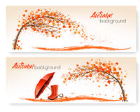 Autumn banners with trees and umbrella and rain boots. Vector Stock Images
