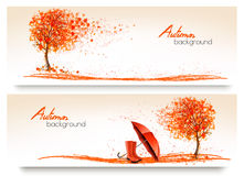 Autumn banners with trees and umbrella and rain boots. Vector Stock Image