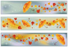 Autumn banners with umbrella,  Royalty Free Stock Photography