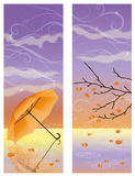 Autumn banners with umbrella Stock Image