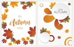 Autumn banners vector set. Illustration with autumn leaves Royalty Free Stock Photo