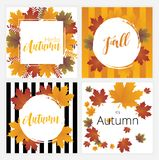 Autumn banners vector set. Illustration with autumn leaves Royalty Free Stock Photography