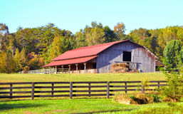 Autumn at the barn. Photograph of a horse barn in North Georgia Stock Photography