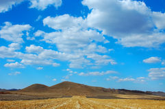 Autumn bashang. Bluesky clouds and skies meadow soil Royalty Free Stock Photo