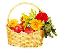 Autumn basket with apples. Royalty Free Stock Photos