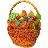 Autumn basket with fruit isolated on a white background. Stock Photo
