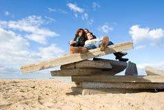 Autumn on the beach stock photo