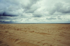 Autumn beach. And cloudy skies in Oostende, Belgium, September Royalty Free Stock Photo