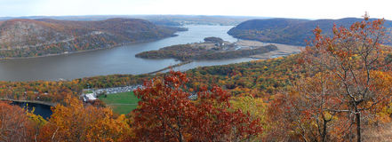 Autumn Bear Mountain aerial view panorama Royalty Free Stock Photos