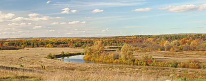Autumn beautiful panoramic rural landscape Stock Photos