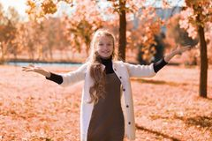Autumn beautiful portrait of a young girl in the park with foliage. teenager smiles and hands up stock images